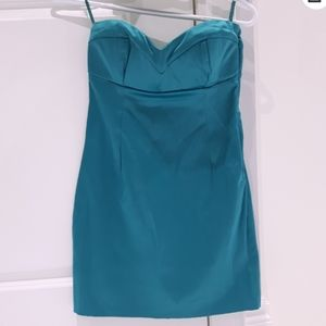 New Satin Teal Sweetheart Dress- Size S -30%Cotton
